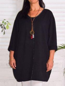 Naomi, tunique mode et son collier - noir