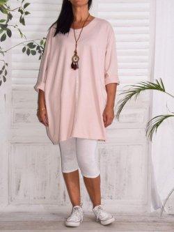 Naomi, tunique mode et son collier - rose