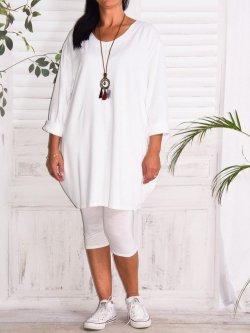 Naomi, tunique mode et son collier - blanc