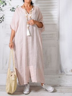 Gilliane,  kaftan gaze de lin - rose