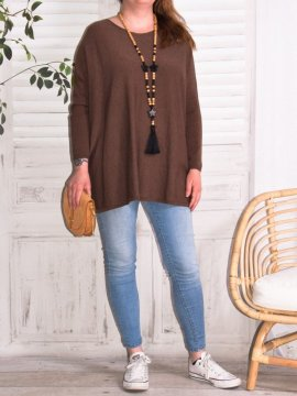 Athéna, pull fluide, grande taille chocolat face