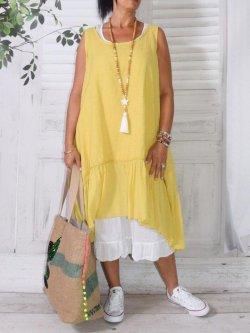 Aurore, robe en lin bohème - jaune