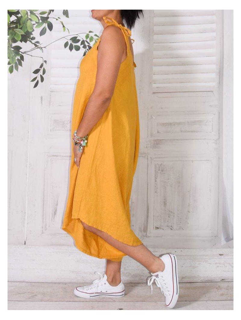 Salomé, combi-sarouel en lin jaune dos