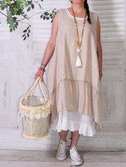 Aurore, robe en lin bohème - grège
