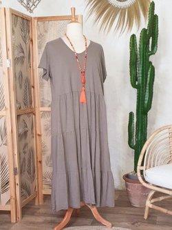 Cerise, robe grande taille romantique - taupe