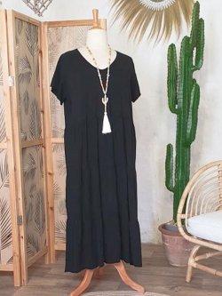 Cerise, robe grande taille romantique - noir