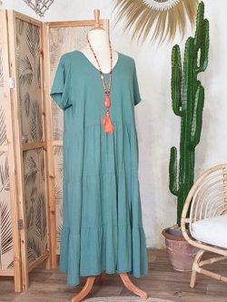 Cerise, robe grande taille romantique - vert d'eau