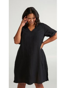 Viviane, robe grande taille, marque Zizzi noir profil