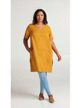Viviane, robe grande taille, marque Zizzi jaune