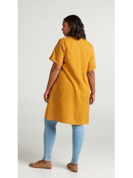 Viviane, robe grande taille, marque Zizzi jaune dos