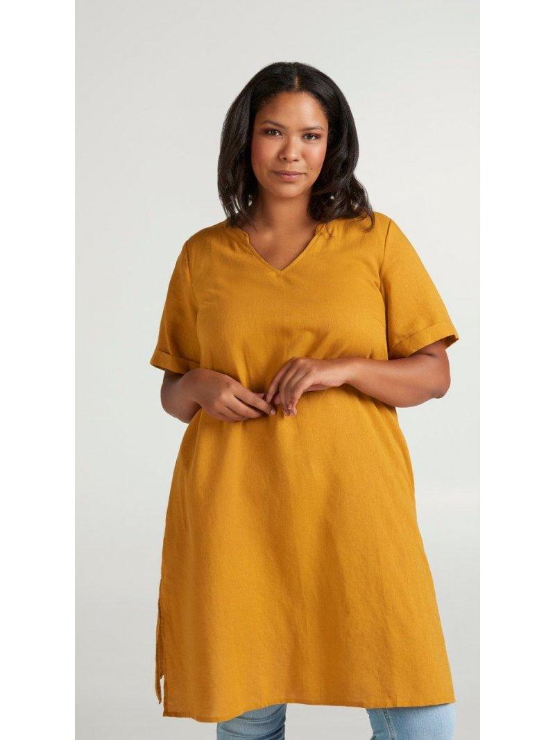 Viviane, robe grande taille, marque Zizzi jaune face
