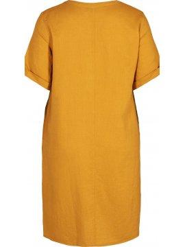 Viviane, robe grande taille, marque Zizzi jaune zoom dos