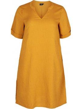 Viviane, robe grande taille, marque Zizzi jaune zoom face