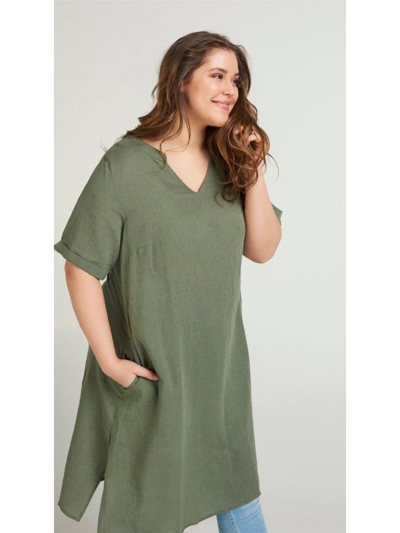 Viviane, robe grande taille, marque Zizzi kaki