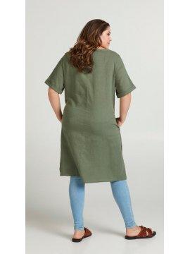 Viviane, robe grande taille, marque Zizzi kaki zoom dos
