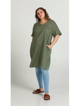 Viviane, robe grande taille, marque Zizzi kaki profil