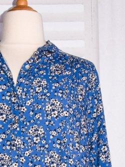 Anémone, robe grande taille, imprimé fleuri - Bleu