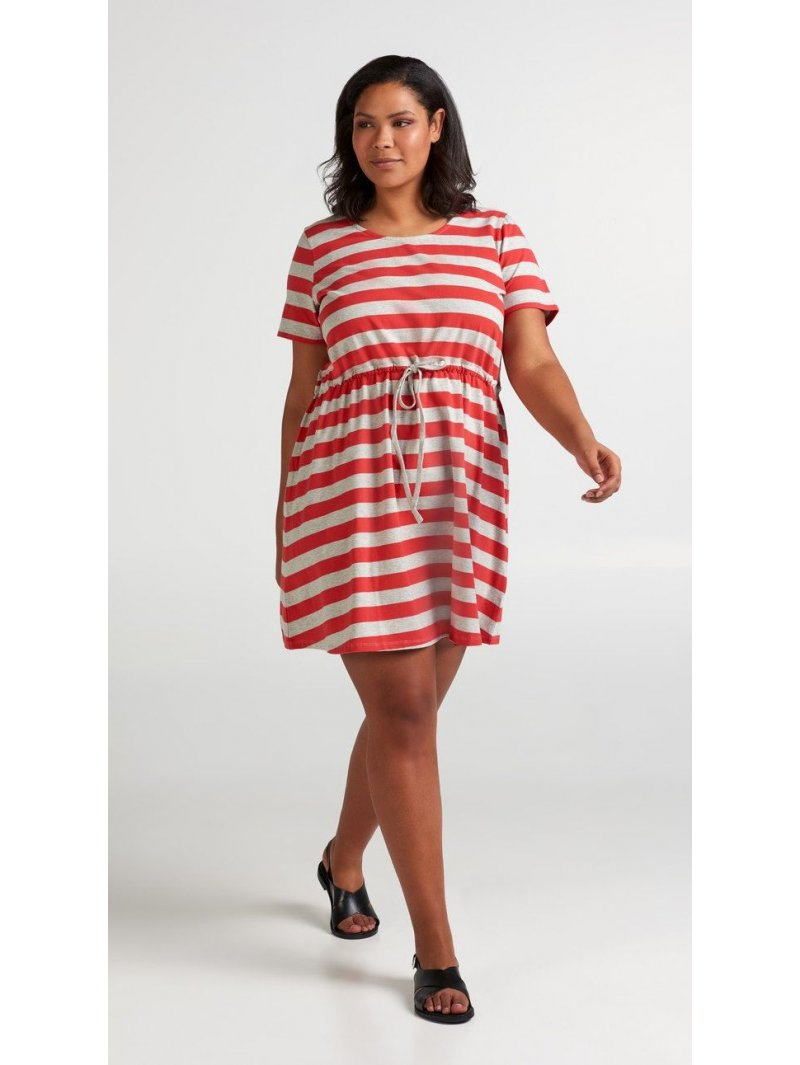 Maryse, robe rayée rouge, grande taille, Zizzi rouge