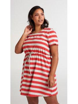 Maryse, robe rayée rouge, grande taille, Zizzi rouge face
