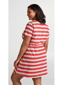 Maryse, robe rayée rouge, grande taille, Zizzi rouge dos