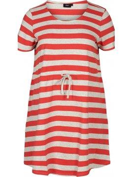 Maryse, robe rayée rouge, grande taille, Zizzi rouge zoom face