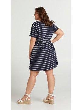 Maryse, robe rayée marine, grande taille, Zizzi bleu dos