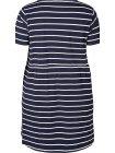 Maryse, robe rayée marine, grande taille, Zizzi bleu dos zoom