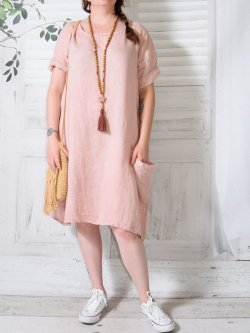 Romane, robe lin,  Lagenlook - rose