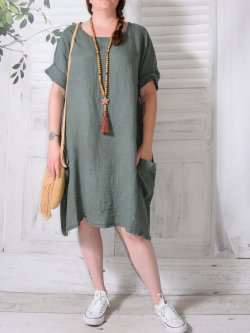 Romane, robe lin,  Lagenlook - kaki