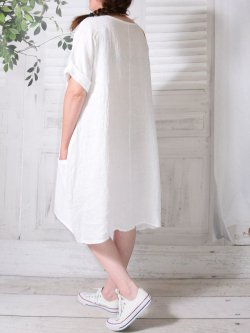 Romane, robe lin,  Lagenlook - blanc