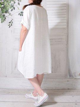 Romane, robe lin, Lagenlook blanc dos