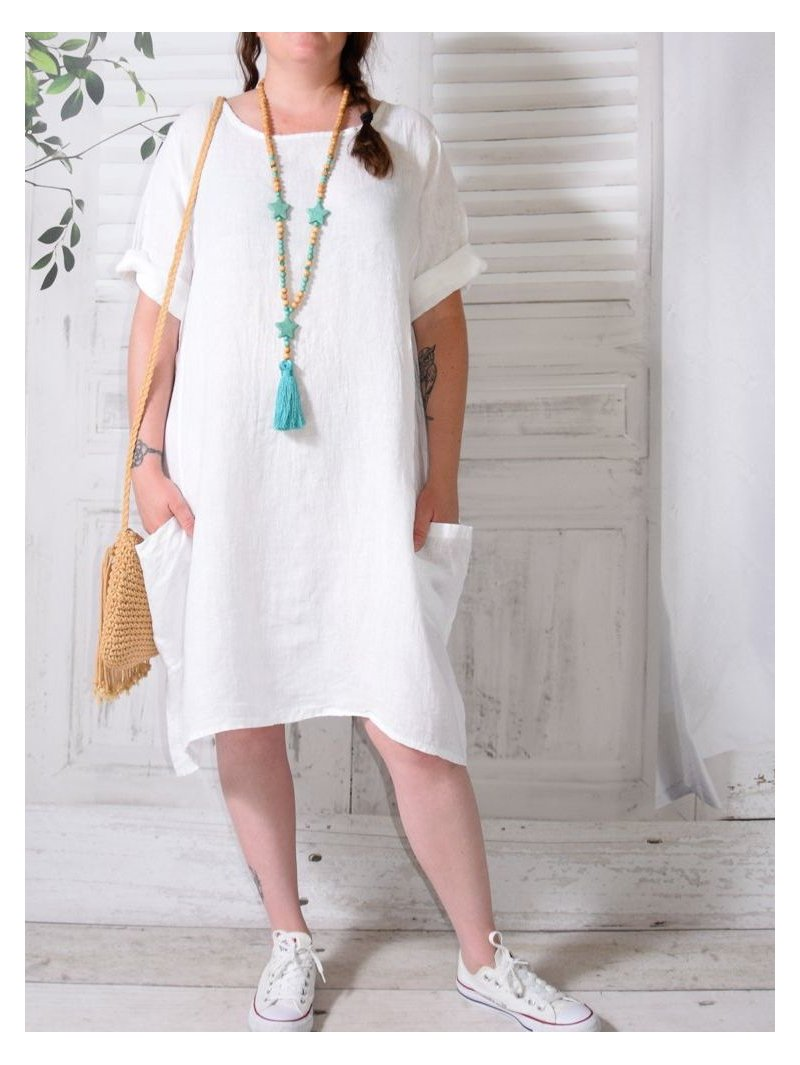 Romane, robe lin, Lagenlook blanc face