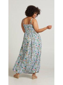 Marina, robe longue, grande taille, marque Zizzi bleu profil