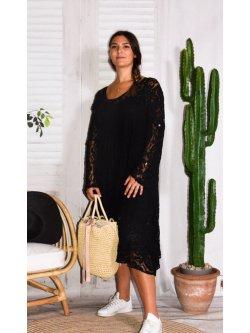 Corfou, robe dentelle bohème grande taille - noir
