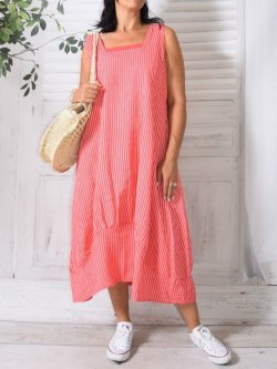 Esther,  robe lin rayée,  Lagenlook - corail