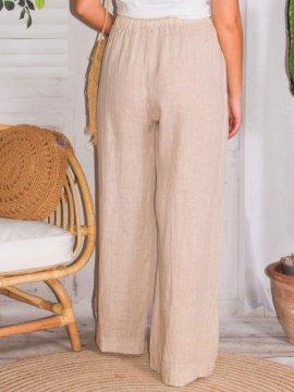 Mireille, pantalon lin, grande taille, Talia benson rose dos
