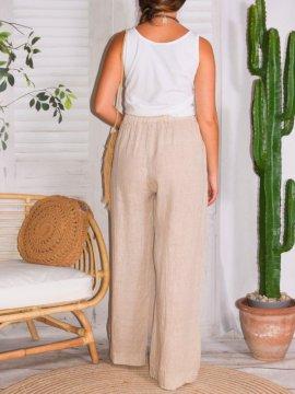 Mireille, pantalon lin, grande taille, Talia benson rose arriere