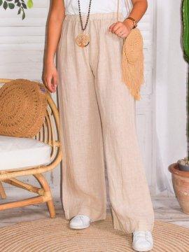 Mireille, pantalon lin, grande taille, Talia benson rose coté