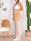 Mireille, pantalon lin, grande taille, Talia benson rose profil