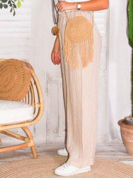Mireille, pantalon lin, grande taille, Talia benson rose