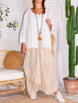 Anouk, veste en lin grande taille, Talia Benson. - blanc