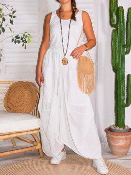 Amelia, jupe lin, grande taille, Talia benson blanc