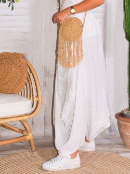 Amelia, jupe lin, grande taille, Talia benson blanc coté
