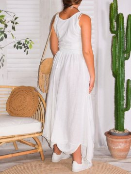 Amelia, jupe lin, grande taille, Talia benson blanc derriere