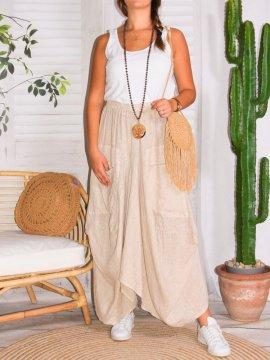 Amelia, jupe lin, grande taille, Talia benson beige dace