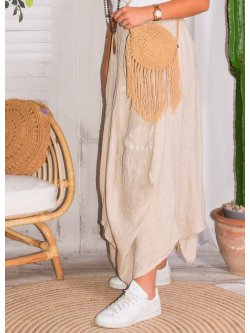 Amalia, jupe lin, grande taille, Talia benson - grège