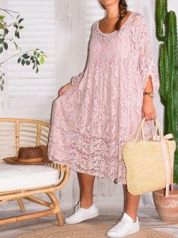 Corfou, robe dentelle bohème grande taille - rose