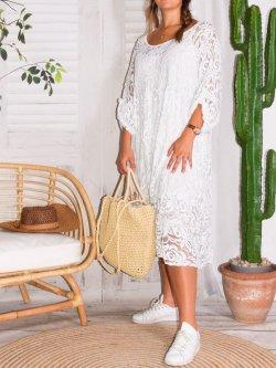Corfou, robe dentelle bohème grande taille - blanc