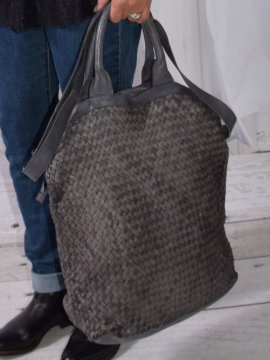 sac dallas cuir tresse gris 1
