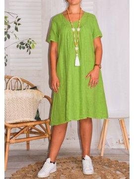 Lisette, robe en lin, Talia benson vert face